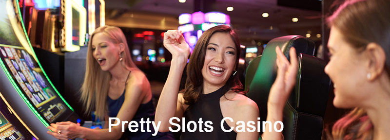three girl playing slots machine and enjoying